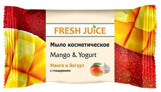 Fresh Juice мыло косметическое Mango & Yogurt, 75 г8588006034332Эффективное очищение и смягчение кожи рук, созданного на основе соковых концентратов и пищевых вкусо-ароматических добавок. Косметическое мыло с ароматом Манго и йогурт эффективно очищает кожу. Содержит глицерин и экстракт манго.