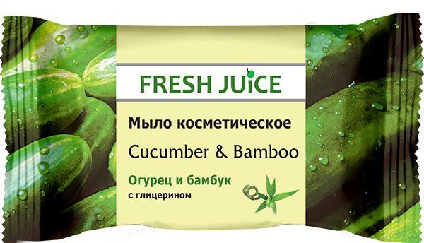 Fresh Juice мыло косметическое Cucumber & Bamboo, 75 г8588006034356Эффективное очищение и смягчение кожи рук, созданного на основе соковых концентратов и пищевых вкусо-ароматических добавок. Косметическое мыло с ароматом Огурец и бамбук эффективно очищает кожу. Содержит глицерин и экстракт огурца.