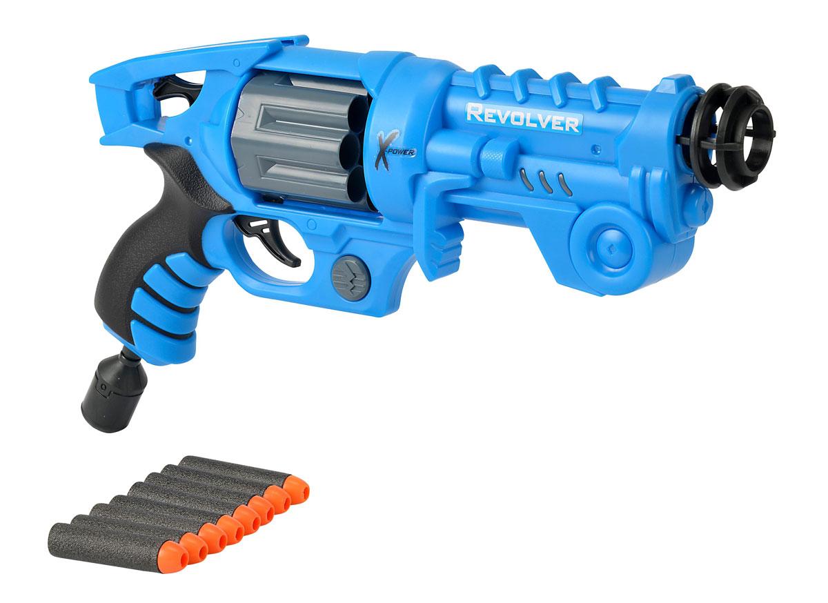 Simba Револьвер X-Power7217190Револьвер Simba X-Power наверняка понравится маленьким любителям военных игр и позволит вашему ребенку почувствовать себя во всеоружии! Револьвер выполнен из яркого безопасного для детей пластика. Комплект также включает в себя 8 патронов, выполненных из гибкого вспененного полимера. Это мощное оружие может поражать цель на расстоянии до 8 метров, а мягкие патроны не причинят вреда окружающему интерьеру или людям. Игра с таким револьвером поможет ребенку в развитии меткости, ловкости, координации движений и сноровки.