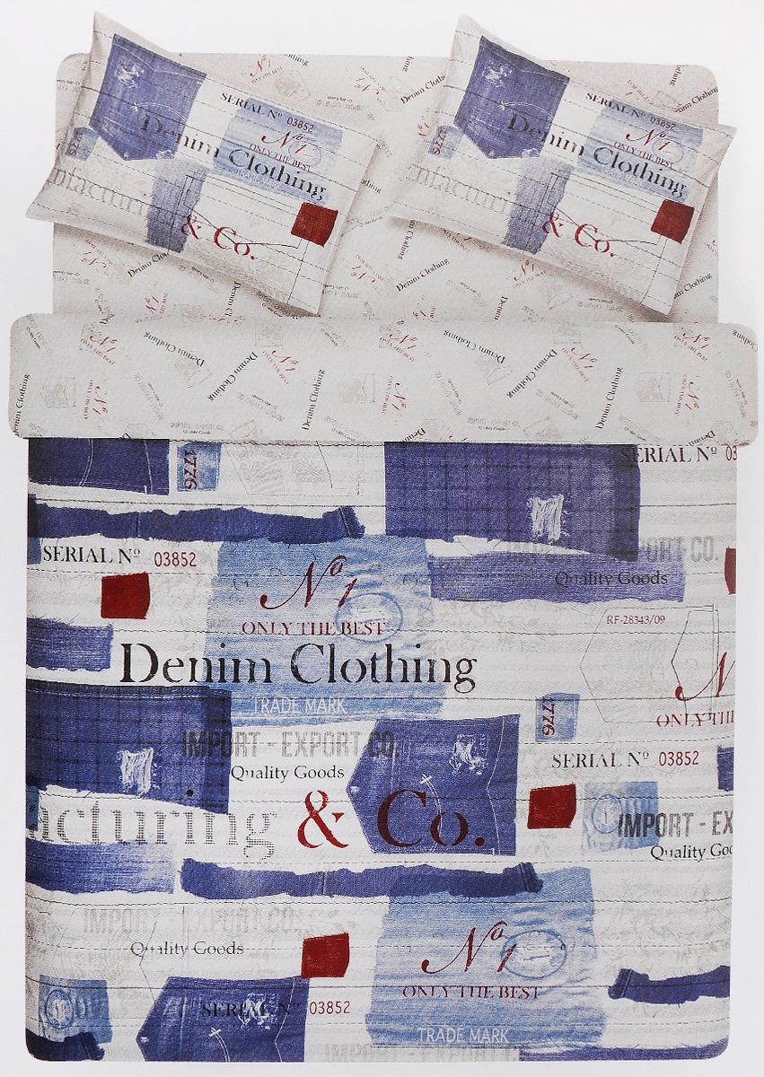 Комплект белья TAC Denim, 2-спальный, наволочки 50х70, цвет: белый, голубой, красный