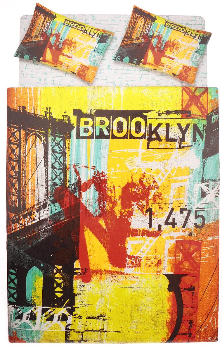 Комплект белья TAC Brooklyn, 2-спальный, наволочки 50х70, цвет: белый, оранжевый, черный