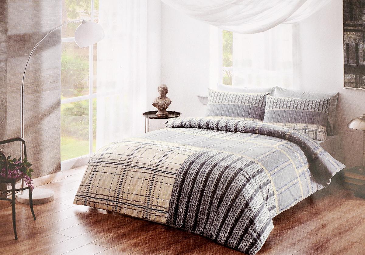 Комплект белья TAC Moselle, 2-спальный, наволочки 50х70, цвет: серый, синий, белый3464Роскошный комплект постельного белья TAC Moselle выполнен из натурального ранфорса (100% хлопка) и украшен оригинальным рисунком. Комплект состоит из пододеяльника, простыни и двух наволочек. Пододеяльник застегивается на пуговицы. Ранфорс – это плотная хлопчатобумажная ткань полотняного переплетения нитей. Она идеально поддерживает естественный температурный баланс тела, гипоаллергенна, прекрасно впитывает влагу, очень проста в уходе, а за счет высокой прочности способна выдерживать большое количество стирок. Высочайшее качество материала гарантирует безопасность. Бесценная забота о тех, кто вам дорог.