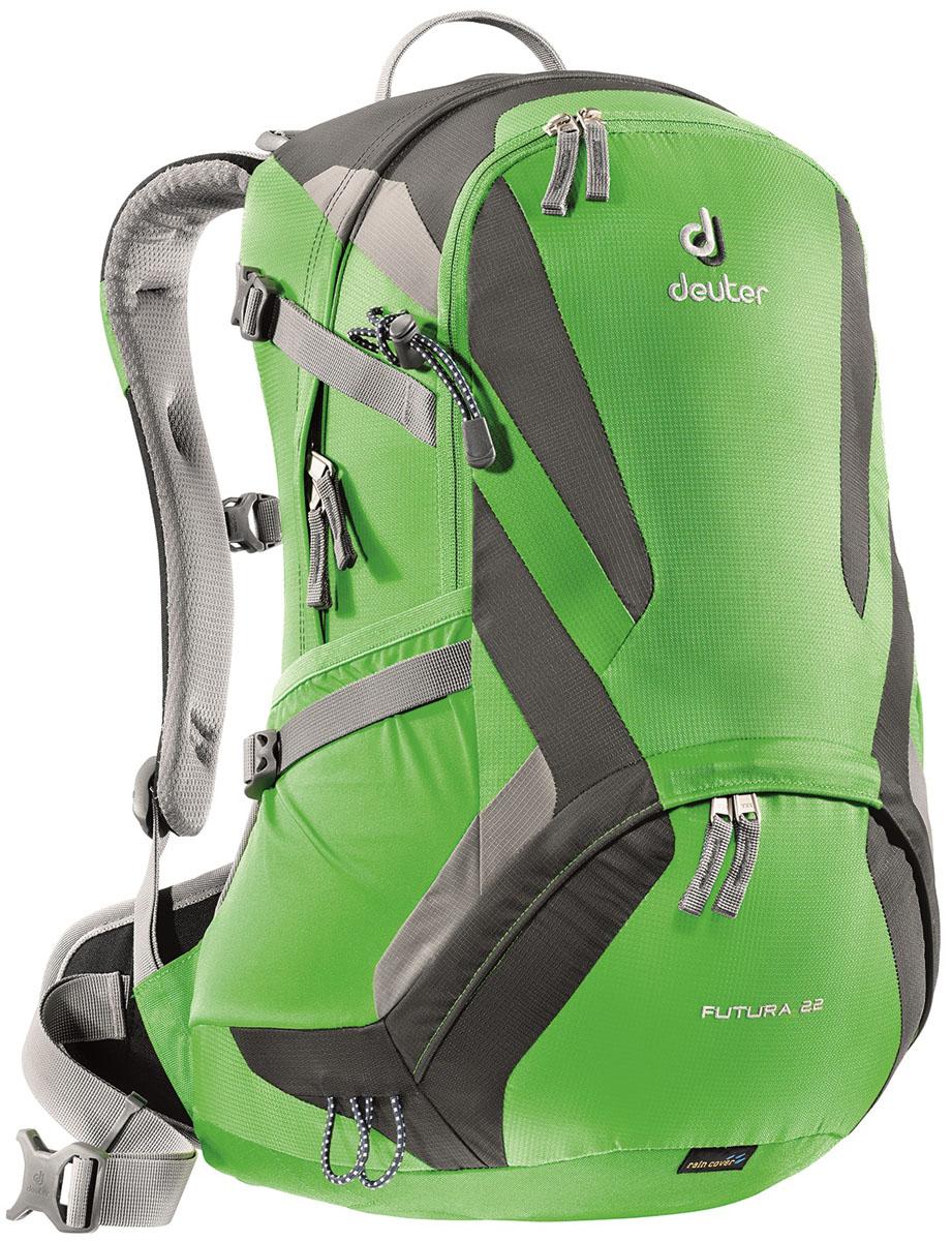 Рюкзак Deuter 2015 Aircomfort Futura Futura 22, цвет: зеленый, 22л34204_2431Deuter Futura это ведущие модели среди легких рюкзаков Deuter сохранили свои плавные обводы, но теперь их цвета изменились: первоклассная функциональность сочетается с отличной системой вентиляции Aircomfort. Они отлично смотрятся и в офисе, и в магазине, и в однодневном походе. Особенности: - поясной ремень с двухслойными набедренными подушками - плечевые лямки из вдвухслойного поропласта со стабилизирующими ремнями - боковые компресионные ремни для регулировки объема, практичный карман спереди, боковые сетчатые карманы, внутренний карман для мелких вещей - отделение для мокрой одежды, петли для телескопических палок