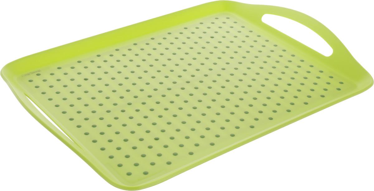 Поднос BergHOFF CooknCo, нескользящий, 45 х 32 см2800042Сервировочный поднос BergHOFF CooknCo выполнен из полипропилена и термопластического полимера, который позволяет предметам надежно удерживаться на подносе. Дно подноса также отделано полимером. Поднос снабжен двумя ручками и небольшими бортиками. Поднос пригодится в любом хозяйстве. Рекомендуется мыть вручную. Не использовать в СВЧ.