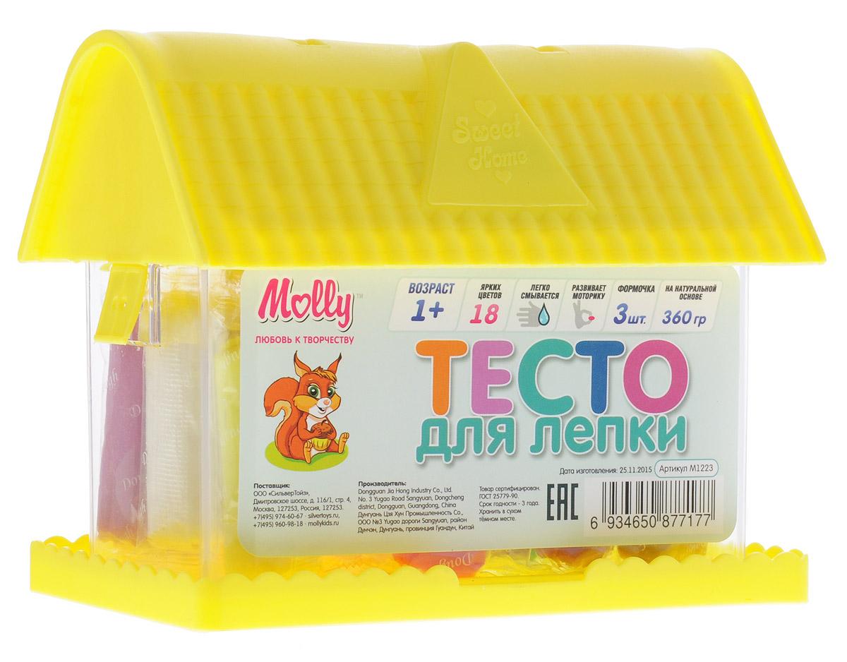 Molly Масса для лепки 18 цветов 3 формочки цвет желтыйM1223_желтыйМасса для лепки Molly замечательно подходит для занятия лепкой с детьми. Масса пластична, приятна на ощупь и долговечна. Преимущественным отличием массы для лепки Molly является то, что она не пачкает руки и одежду, легко смывается с поверхности, не окрашивает, может использоваться многократно при условии правильного хранения, безопасна для самых маленьких. Пластилин различных цветов хорошо смешивается между собой, благодаря чему можно создавать бесконечное множество оттенков. Натуральные компоненты в его составе делают его абсолютно безопасным. Масса для лепки не вызывает аллергии. В наборе 3 формочки и 18 цветов пластилина в индивидуальных упаковках. Готовые изделия из пластилина можно украшать бусинами, крупами, семечками, разукрашивать маркерами. Творческие занятия лепкой развивают мелкую моторику рук, воображение, логику, умение концентрироваться. Набор упакован в пластиковый чемоданчик в виде домика с ручкой для переноски.