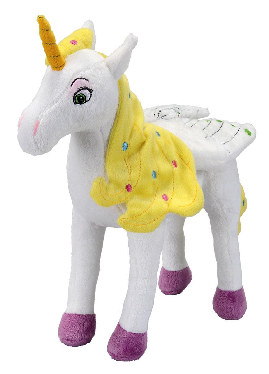 Simba Мягкая игрушка Единорог Onchao 25 см9487593Мягкая игрушка Mia and Me Единорог Onchao с крыльями станет чудесным подарком вашему малышу! Плюшевый единорожек Ончао - белый и очень мягкий. Высокое качество тканей подарить нежные прикосновения малышу, а возможно и поклоннице постарше! Игрушка не содержит мелких деталей, а все рисунки и глазки вышиты нитками, поэтому игрушечный единорог подходит для детей с рождения! Игрушка, созданная по мотивам мультфильма Mia and Me, украсит любую детскую комнату и принесет радость и веселье во время игр. Мягкая игрушка Единорог Onchao поможет развить тактильные навыки, зрительную координацию, воображение и мелкую моторику рук. Порадуйте своего ребенка таким замечательным подарком!