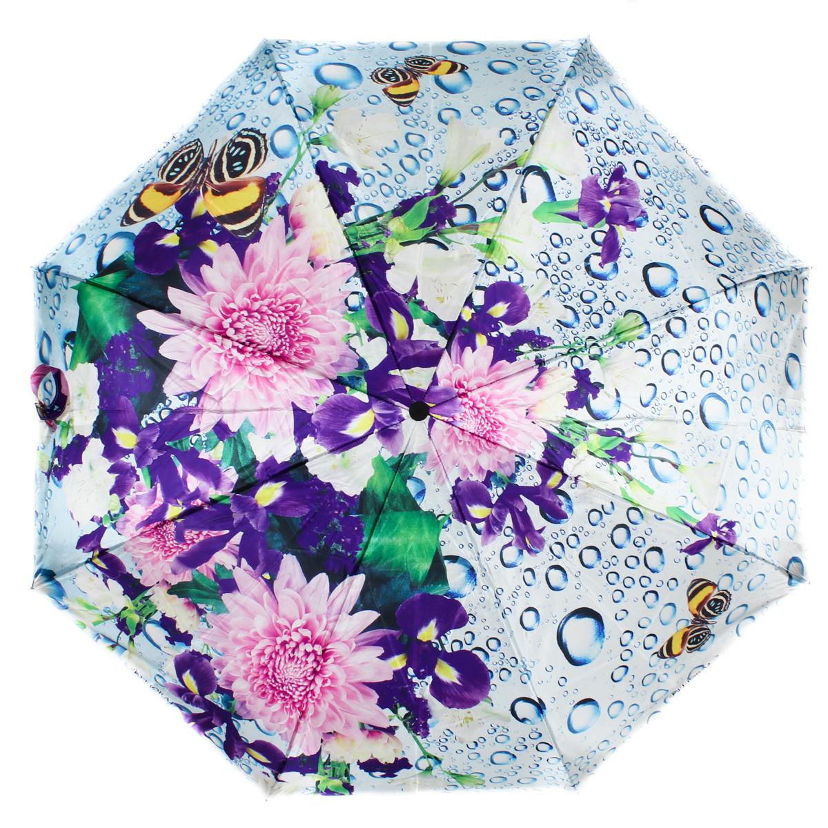 Зонт женский Flioraj, автомат, 3 сложения, цвет: фиолетовый, голубой, розовый. 231212 FJ231212 FJЖенские зонты с нежным рисунком создадут весеннее настроение в любую непогоду! Уникальный каркас из анодированной стали, карбоновые спицы обеспечат надежную защиту даже при порывах ураганного ветра. Улучшенный механизм позволит быстро открыть, а потом сложить зонт.