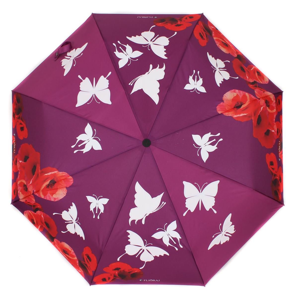 Зонт женский Flioraj, автомат, 3 сложения, цвет: красный, фиолетовый. 210204 FJ210204 FJНеобычный женский зонт расцветает яркими красками под каплями дождя! И вот уже у вас над головой закружил хоровод бабочек. Новый эффект проявления рисунка на разноцветных зонтах. Такого еще не было! Нежные женственные цветы и легкие бабочки придадут легкость вашему образу и весеннее настроение. А качественные материалы купола и каркаса обеспечат надежную защиту. Когда разноцветные элементы вновь становятся белыми, это означает, что зонт полностью высох, и его можно складывать. Уникальный каркас из анодированной стали, карбоновые спицы помогут выдержать натиск ураганного ветра. Оснащен системой антиветер. Улучшенный механизм зонта, максимально комфортная ручка держателя, увеличенный на 4,5 см стержень, тефлоновая пропитка материала купола - совершенство конструкции с изысканностью изделия на фоне конкурентоспособной цены.