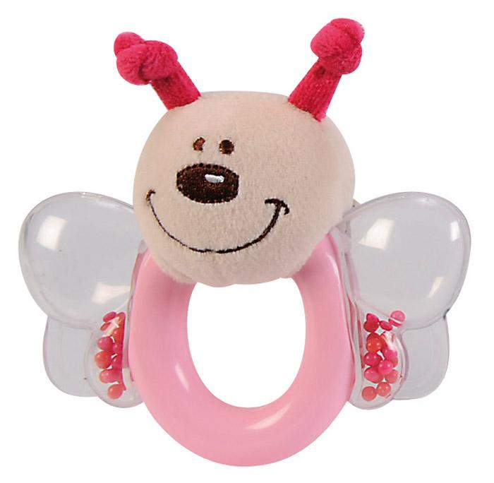 Simba Погремушка Насекомое цвет розовый4014729Замечательная игрушка-погремушка Simba Насекомые, несомненно, вызовет улыбку и положительные эмоции у вашего малыша. Состоит погремушка из кольца, прозрачных крылышек с гремящими шариками и мягкой мордочки насекомого. Погремушка сочетает в себе яркие элементы с различными функциональными возможностями. Кольцо очень удобно для захвата маленькими детскими пальчиками, поэтому при помощи этой игрушки малыша будет легко научить удерживать предметы. В игровой форме малыш ознакомится с такими понятиями, как звук, цвет и форма предмета. Благодаря данной игрушке ребенок будет развивать мелкую моторику и воображение.