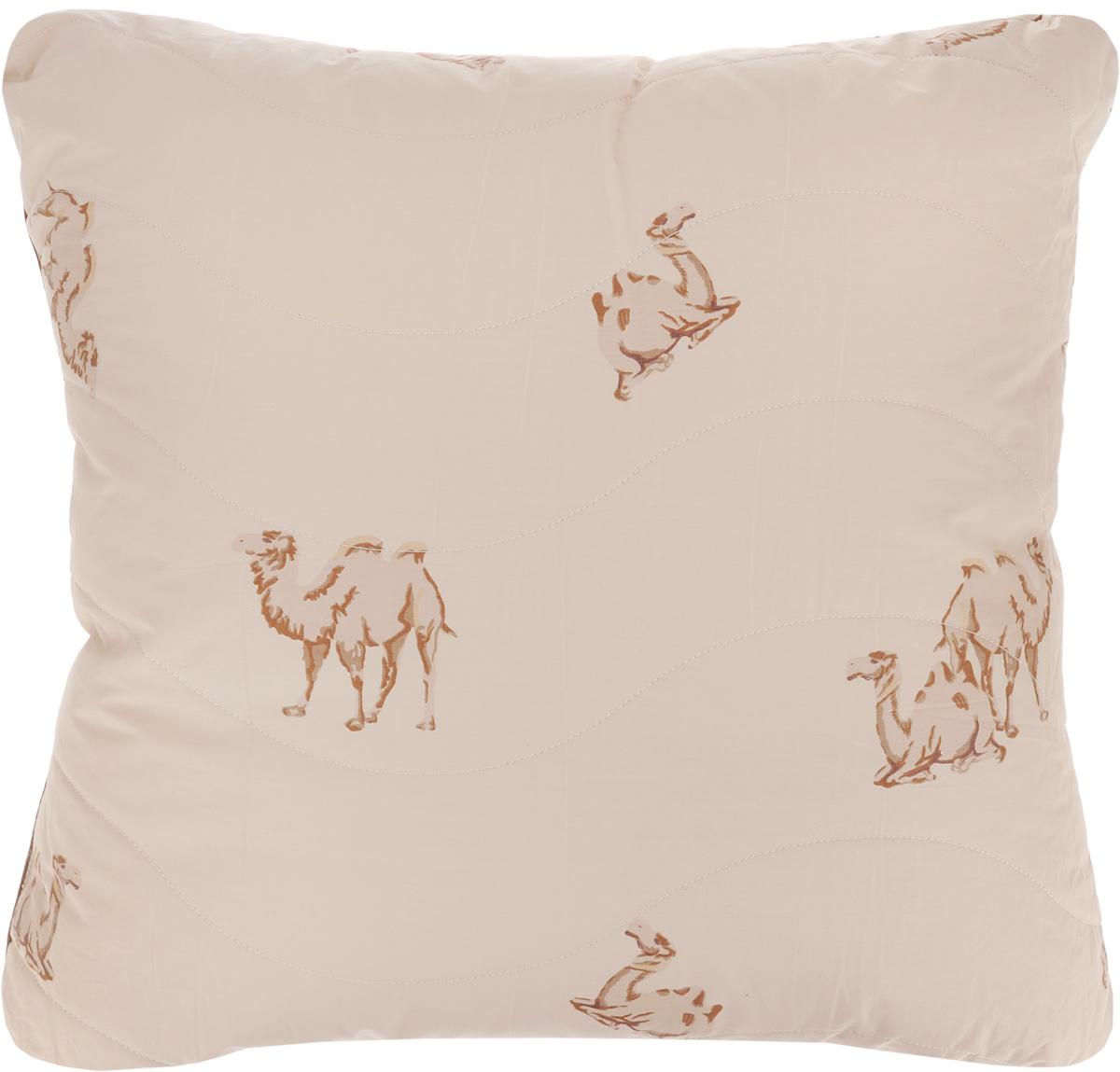 Подушка Легкие сны Верби, наполнитель: верблюжья шерсть, 68 х 68 см77(30)02-ВШПодушка Легкие сны Верби поможет расслабиться, снимет усталость и подарит вам спокойный и здоровый сон. Изделие обеспечит комфортную поддержку головы и шеи во время сна. Верблюжья шерсть является прекрасным изолятором и широко используется как наполнитель для постельных принадлежностей. Шерсть обладает отличными согревающими свойствами и способна быстро поглощать влагу, поэтому производимое верблюжьей шерстью целебное тепло называют сухим. Чехол подушки выполнен из прочного тика с рисунком в виде верблюдов. Это натуральная хлопчатобумажная ткань, отличающаяся высокой плотностью, она устойчива к проколам и разрывам, а также отличается долговечностью в использовании. Чехол приятен к телу и надежно удерживает наполнитель внутри подушки. По краю подушки выполнена отделка атласным кантом коричневого цвета. Рекомендуется химчистка. Степень поддержки: средняя.