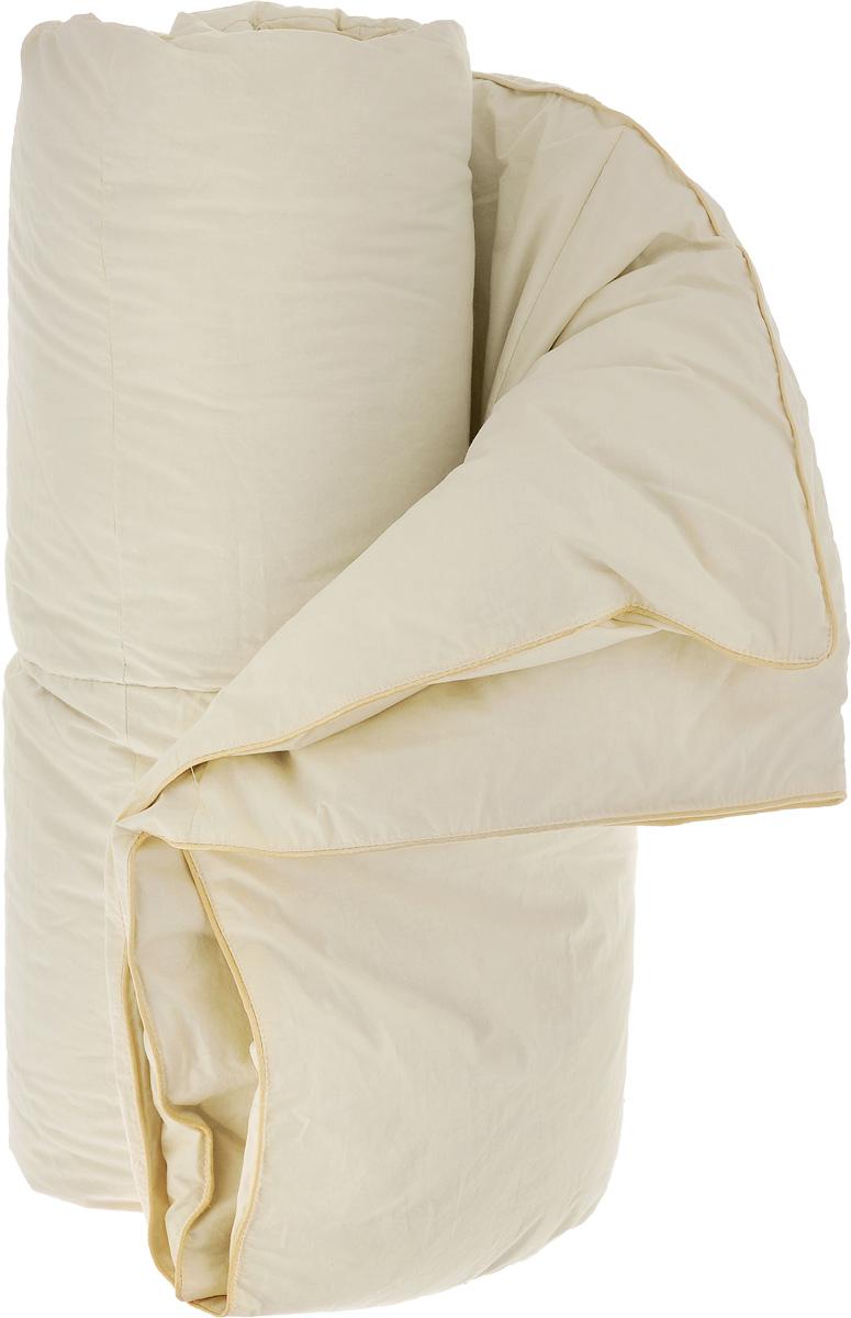 Одеяло теплое Легкие сны Камелия, наполнитель: гусиный пух, 172 х 205 см172(15)02-ЛТеплое двуспальное одеяло Легкие сны Камелия поможет расслабиться, снимет усталость и подарит вам спокойный и здоровый сон. Одеяло наполнено серым гусиным пухом первой категории. Кассетное распределение пуха способствует сохранению формы и воздушности изделия. Теплое пуховое одеяло - отличный вариант на зиму и осень. Чехол одеяла выполнен из пуходержащего тика цвета шампань. Тик - это натуральная хлопчатобумажная ткань, отличающаяся высокой плотностью, идеально подходит для пухо-перовых изделий, так как устойчива к проколам и разрывам, а также отличается долговечностью в использовании. Одеяло простегано и отделано по краю шелковым кантом золотистого цвета. Одеяло можно стирать в стиральной машине.