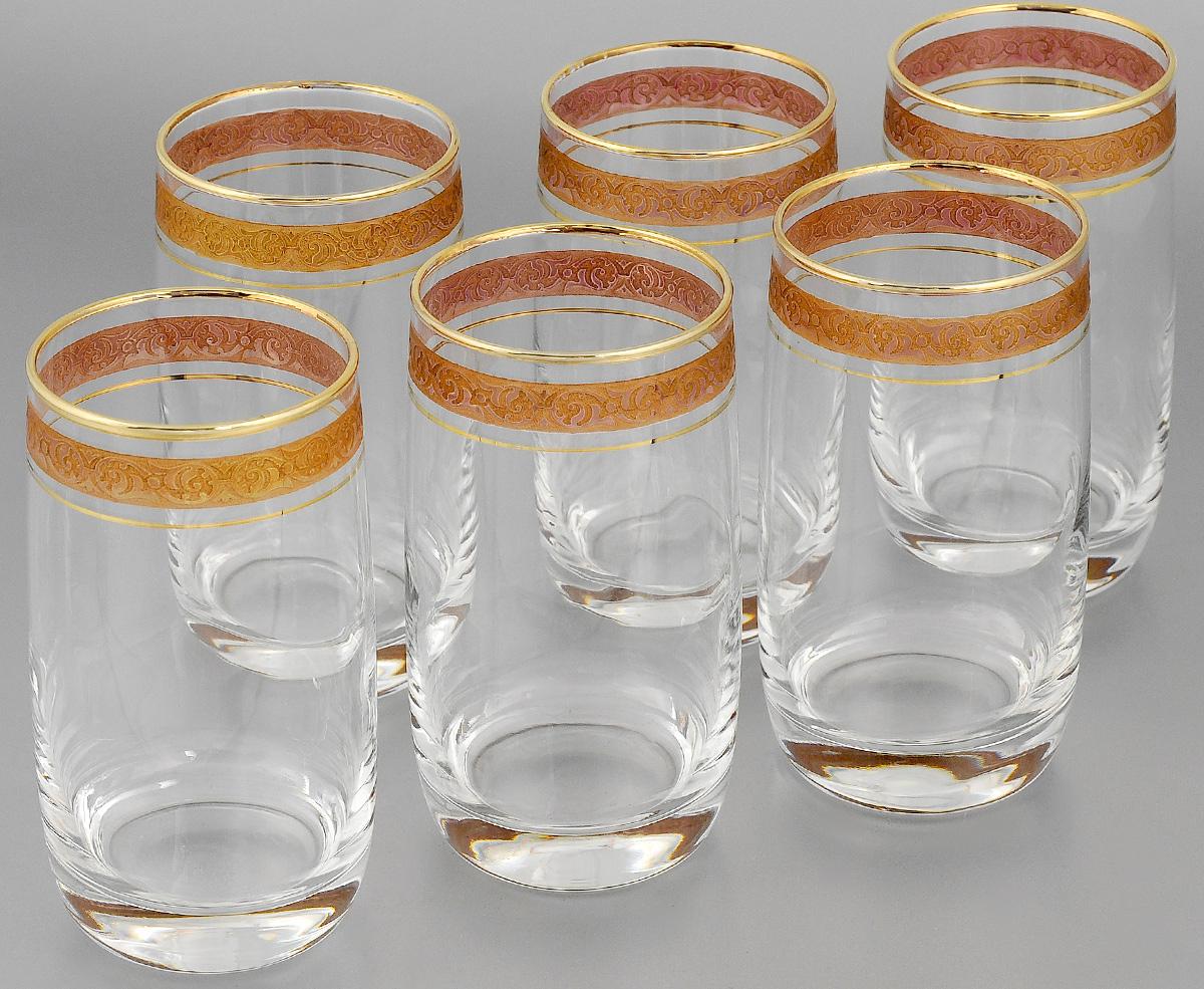 Набор стаканов для коктейлей Гусь-Хрустальный Махараджа, цвет: прозрачный, золотистый, розовый, 330 мл, 6 штEL52-809KНабор Гусь-Хрустальный Махараджа состоит из 6 стаканов для коктейлей, изготовленных из высококачественного натрий-кальций-силикатного стекла. Изделия оформлены красивой зеркальной окантовкой и золотистым узором. Такой набор прекрасно дополнит праздничный стол и станет желанным подарком в любом доме. Разрешается мыть в посудомоечной машине. Диаметр стакана (по верхнему краю): 6 см. Высота стакана: 12,5 см.