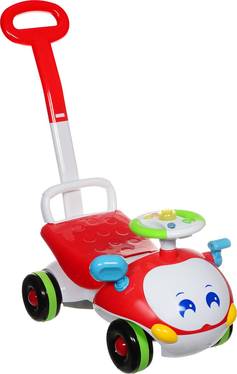 J.R. TOYS Каталка детская с функцией ходунков цвет красный белыйJR-906A-2Детская каталка J.R. TOYS станет любимым средством передвижения вашего малыша. Яркая машинка оснащена рулем и удобным широким сиденьем. Передняя часть выполнена в виде забавной улыбающейся мордочки. На руле предусмотрены кнопочки, что сделает катание более интересным. Рядом с рулем расположен рычаг, который двигается вперед-назад со звуком трещотки. Каталка выполнена из прочного пластика, а оси колес - из металла, что гарантирует ее прочность и долговечность. Широкие колеса обеспечивают машине устойчивость и хорошую проходимость. Также машинка дополнена невысокой спинкой и высокой ручкой-толкателем для взрослого. Каталка имеет функцию ходунков. Для этого в наборе имеется подпорка, которую необходимо вставить под поднимающееся сиденье. Таким образом, изделие можно использовать как ходунки. С такой машинкой-каталкой не только прогулки, но и игры малыша станут веселее и увлекательнее. Порадуйте его таким замечательным подарком! Необходимо...
