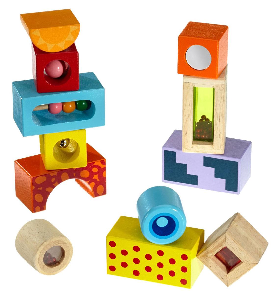 Eichhorn Развивающие кубики со звуком2240Развивающие кубики Eichhorn - это яркий и звонкий набор для малышей. Деревянные кубики разных форм раскрашены в разные цвета, расписаны яркими узорами, а главное - снабжены погремушками, так что каждый кубик может выступать и как самостоятельная игрушка. В комплекте 4 прямоугольника, 4 куба, 2 цилиндра, полукруг и арка. Из них 3 фигурки - из неокрашенного дерева, зато внутри кубиков имеется пространство, закрытое полупрозрачной пластмассой и заполненное внутри бусинами. Еще один кубик снабжен металлическим бубенчиком. А один из прямоугольников - счетами с тремя шариками. Оранжевый кубик дополнен с двух сторон зеркалами. Каждый их элементов имеет свою оригинальную расцветку. Игры с кубиками развивают мелкую моторику, зрительное восприятие, образное мышление и память. Красочные деревянные кубики удивят и надолго займут веселой игрой вашего малыша.