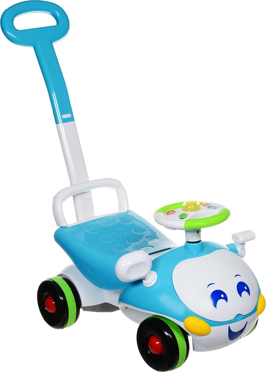 J.R. TOYS Каталка детская с функцией ходунков цвет голубой белыйJR-906B-2Каталка детская J.R. TOYS - настоящая находка для вашего ребенка. Выполненная из безопасного пластика голубого и белого цветов, устойчивая и прочная каталка будет отличным средством передвижения вашего ребенка. Яркая машинка оснащена рулем и удобным широким сиденьем. На руле предусмотрены кнопочки, что сделает катание более интересным. Рядом с рулем расположен рычаг, который двигается вперед-назад со звуком трещотки. Широкие колеса обеспечивают машине устойчивость и хорошую проходимость. Также машинка дополнена невысокой спинкой и высокой ручкой-толкателем для взрослого. Каталка имеет функцию ходунков. Для этого в наборе имеется подпорка, которую необходимо вставить под поднимающиеся сиденье. Таким образом, изделие можно использовать как ходунки. Каталка детская J.R. TOYS улучшает координацию движений ребенка, баланс и моторику. На этой замечательной каталке ребенок будет чувствовать себя комфортно и безопасно, а прогулки станут веселее и интереснее. Изделие обладает...