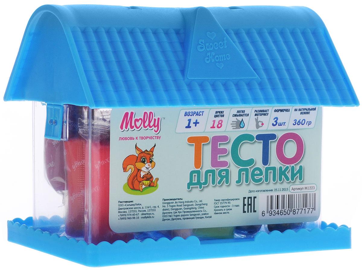 Molly Масса для лепки 18 цветов 3 формочки цвет голубойM1223_голубойМасса для лепки Molly послужит отличной основой для создания творческих поделок у начинающих и опытных мастеров. Комплект состоит из восемнадцати брусочков разноцветного пластилина для лепки и трех формочек. Для удобства хранения все помещено в очаровательный чемоданчик в виде домика. Преимущественным отличием массы для лепки Molly является то, что она не пачкает руки и одежду, легко снимается с поверхности, не окрашивает, может использоваться многократно при условии правильного хранения. Пластилин разных цветов хорошо смешивается между собой, благодаря чему можно создавать бесконечное множество оттенков. Натуральные компоненты в составе пластилина делают его абсолютно безопасным. Творческие занятия лепкой замечательно развивают мелкую моторику рук, усидчивость и воображение детей. Разминая, отщипывая, сплющивая мягкие и приятные на ощупь кусочки, ребенок получает полезные навыки для работы с пластичными материалами в декоративно-прикладном...
