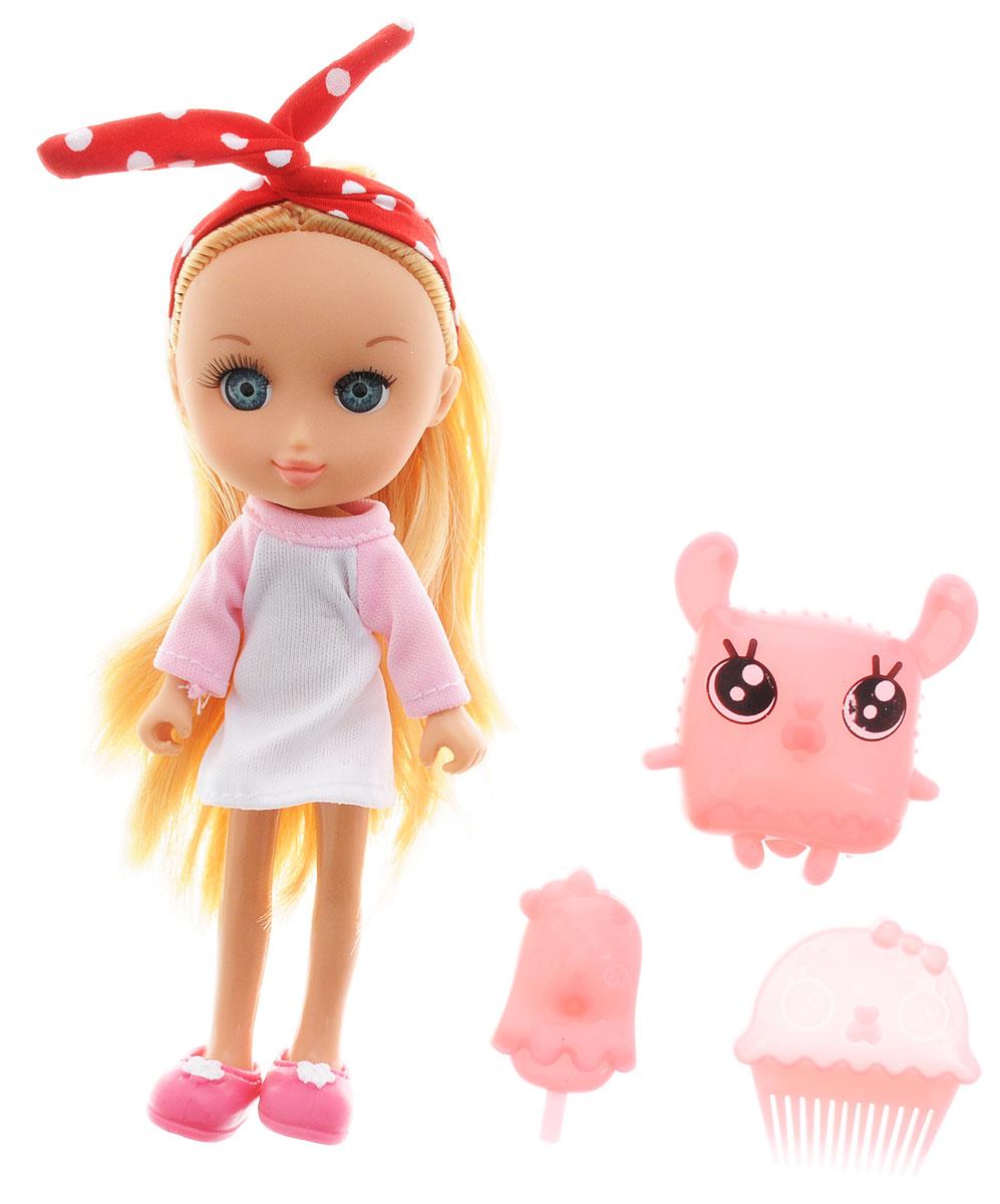 Shiner Toys Мини-кукла Buni TV блондинка65008_блондинкаМини-кукла Shiner Toys Buni TV - это трогательная красавица с большими голубыми глазками и длинными светлыми волосами. Куколка одета в платье белого и розового цветов, на ногах у нее - розовые туфельки. На голове у куколки красный платок в горох. В комплект также входят расческа для куклы, мороженое и пластиковая сумочка в форме забавного кролика. Дополнительные аксессуары помогут вашей дочурке разнообразить игру и предоставят ей простор для фантазии. Кукла имеет пять точек артикуляции, благодаря чему ей можно придавать различные позы. Очаровательная куколка поднимет настроение своей обладательнице и станет ее лучшей подружкой. Игры с куклами развивают творческое мышление и воображение, а также способствуют эмоциональному развитию и формированию ответственности.