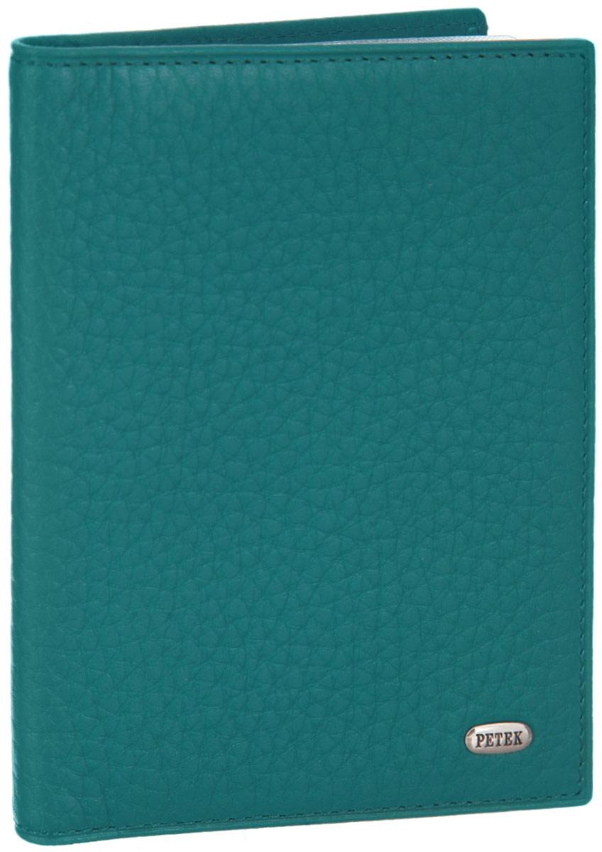 Обложка для паспорта женская Petek 1855, цвет: морская волна. 581.46B.32581.46B.32 TurquoiseСтильная обложка для паспорта Petek 1855 изготовлена из натуральной кожи с зернистой фактурой, оформлена металлической пластиной с символикой бренда. Изделие поставляется в фирменной упаковке с логотипом бренда. Обложка для паспорта поможет сохранить внешний вид ваших документов и защитить их от повреждений, а также станет стильным аксессуаром.