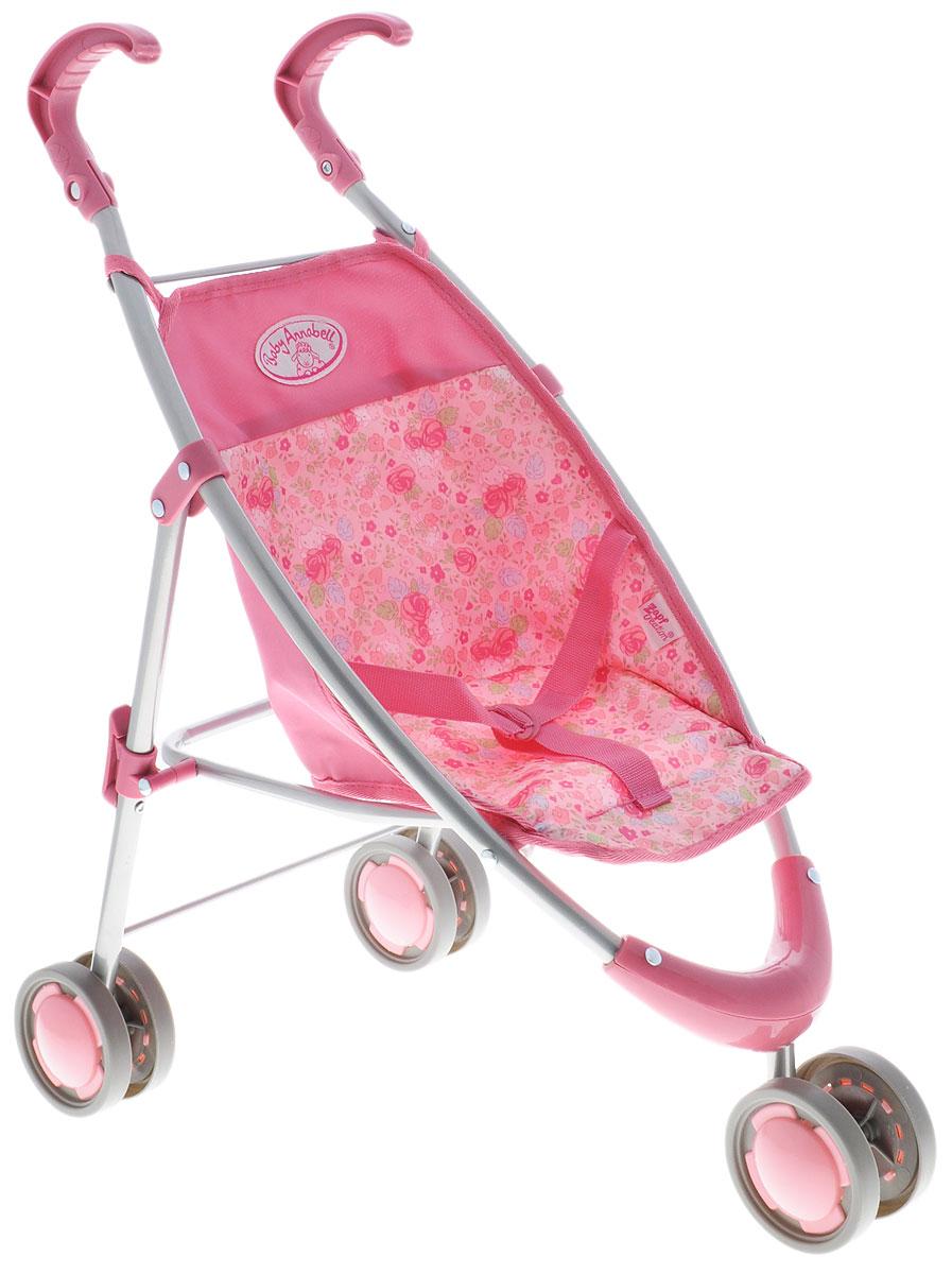 Baby Annabell Коляска-трость для куклы цвет розовый794-470Трехколесная коляска-трость для куклы Baby Annabell поможет сделать игру в Дочки-матери еще более увлекательной. Предназначена для всех кукол Baby Annabell высотой 46 см. Коляска имеет облегченный металлический каркас, сдвоенные колеса и сидение из розовой ткани с цветочным рисунком, которое при необходимости можно снять и постирать. Переднее колесо вращается на 360°, что обеспечивает высокую маневренность. Предусмотрены ремни безопасности, которыми можно надежно зафиксировать куклу. Ручки удобной закругленной формы выполнены из пластика. Коляска легко складывается по типу трости и не занимает много места, а небольшой вес позволяет легко управляться с ней. Такая коляска станет отличным подарком, который обрадует любую девочку и сделает игру с куклой особенно захватывающей!
