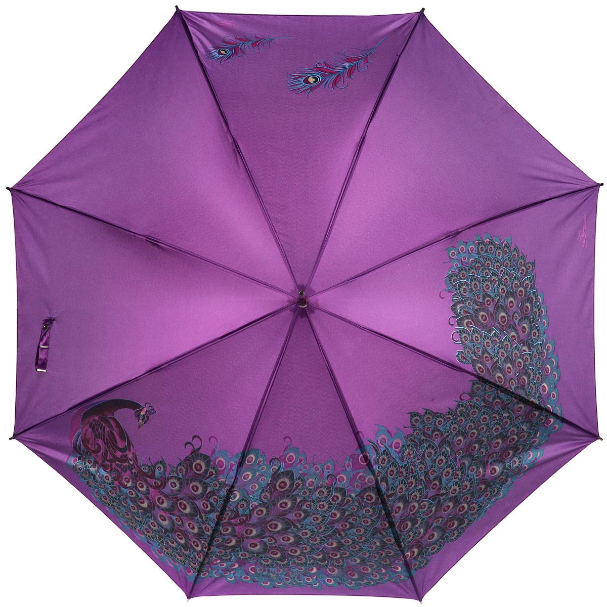 Зонт-трость женский Eleganzza, полуавтомат, цвет: фиолетовый. T-06-0257T-06-0257Яркий зонт-трость Eleganzza оформлен изображением павлина, а также дополнен металлической фурнитурой с символикой бренда. Каркас зонта изготовлен из стали и фибергласса, содержит восемь спиц, а также дополнен эргономичной рукояткой из акрила. Купол выполнен из полиэстера с водоотталкивающей пропиткой. Зонт имеет полуавтоматический механизм сложения: купол открывается нажатием кнопки на рукоятке, стержень и купол складываются вручную до характерного щелчка, благодаря чему открыть зонт можно одной рукой, что чрезвычайно удобно при выходе из транспорта или помещения. Практичный аксессуар даже в ненастную погоду позволит вам оставаться стильной и элегантной.
