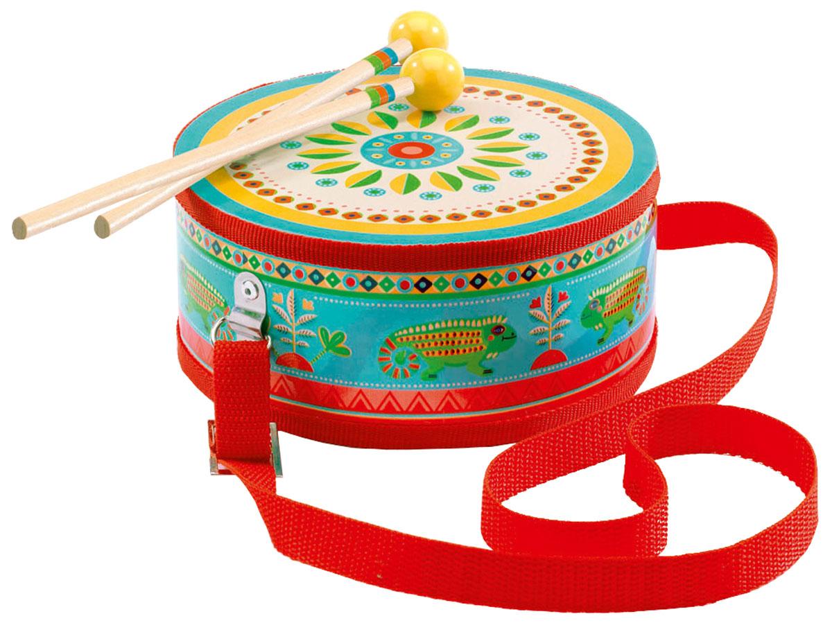 Djeco Барабан цвет голубой красный06004Барабан Djeco - великолепный музыкальный инструмент, с помощью которого ребенок будет развивать свои творческие и музыкальные способности. Барабан очень яркий и красочный. На его корпусе изображены забавные животные, а также различные цветы и узоры. В комплект также входят 2 деревянные палочки, с помощью которых ребенок будет создавать различные звуки и мелодии. Игра на детских музыкальных инструментах прекрасно развивает музыкальный слух, творческие способности малыша, координацию движений и детскую моторику. Набор изготовлен из безопасных высококачественных материалов.