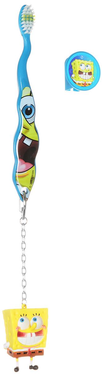 SpongeBob Зубная щетка с защитным колпачком и брелокомSB-4Детская зубная щетка с защитным колпачком и брелоком SpongeBob идеальна для детского ротика. Щетка имеет эргономичную ручку, небольшую чистящую головку, цветовое поле мягкой щетины для оптимального дозирования пасты. Ручка оформлена изображением забавной улыбающейся мордочки Губки Боба. В комплекте с щеткой идет брелок в виде Губки Боба и защитный колпачок с меняющимся при наклоне изображением.