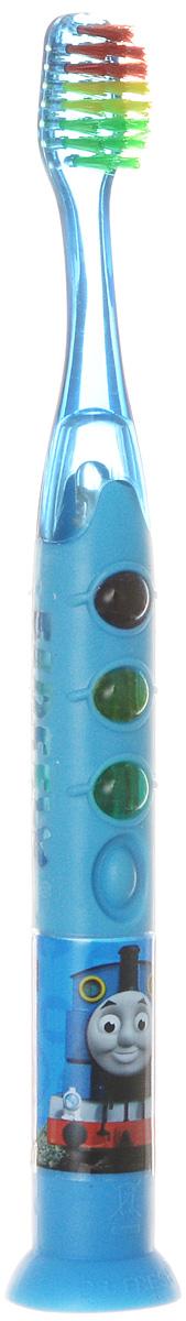 Thomas & Friends Зубная щетка на присоске с тройным таймером-подсветкойTF-19Детская зубная щетка на присоске с тройным таймером-подсветкой Thomas & Friends идеальна для детского ротика. Щетка имеет эргономичную ручку с присоской, небольшую чистящую головку, встроенный таймер со световыми эффектами, включающийся нажатием кнопки на корпусе. Подсветка имеет три разных цвета: зеленый означает начало чистки зубов, желтый сообщает о том, что пора чистить другой ряд, красный - окончание чистки. Ручка оформлена изображением героя мультсериала Паровозик Томас и его друзья. Возраст ребенка: от 3 до 6 лет.