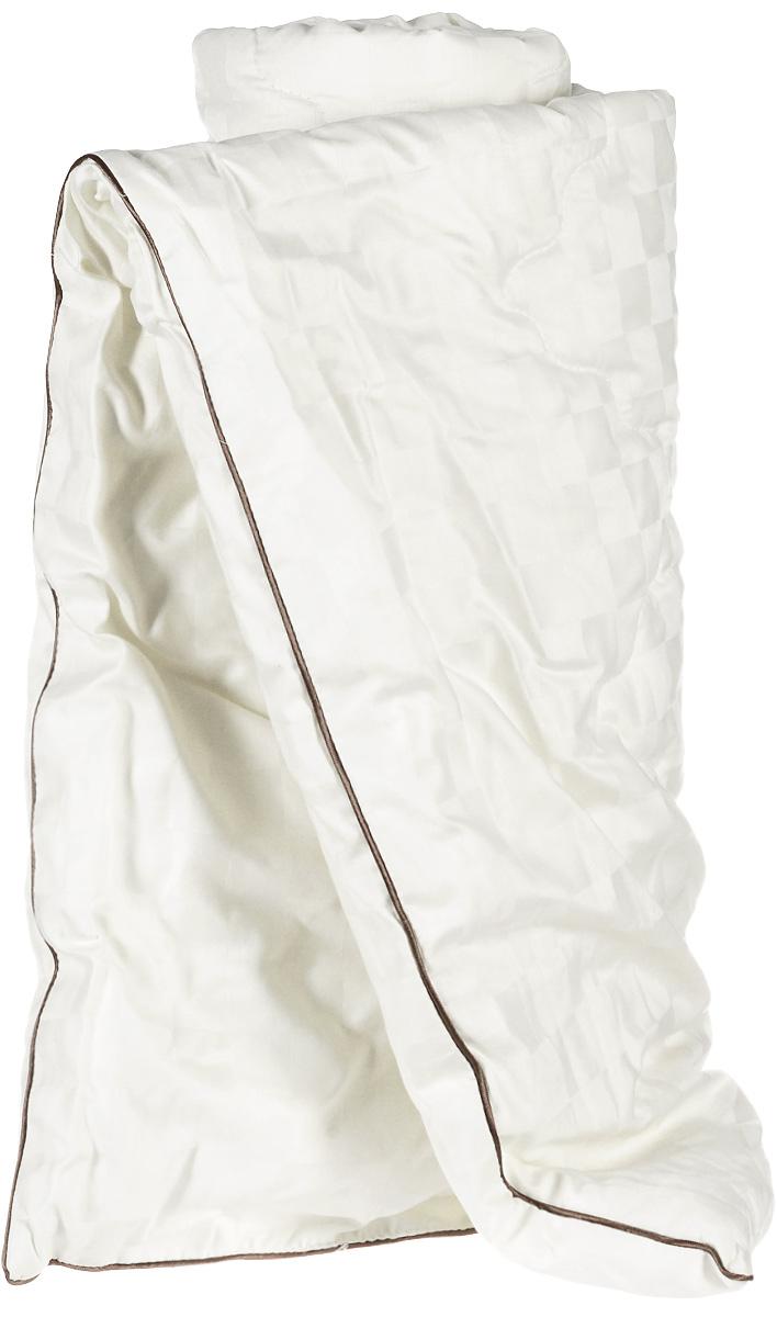 Одеяло легкое Легкие сны Милана, наполнитель: шерсть кашмировой козы, 140 x 205 см140(34)03-КШОЛегкое стеганое одеяло Легкие сны Милана с наполнителем из шерсти кашмировой козы расслабит, снимет усталость и подарит вам спокойный и здоровый сон. Пух горной козы не содержит органических жиров, в нем не заводятся пылевые клещи, вызывающие аллергические реакции. Он очень легкий и обладает отличной теплоемкостью. Одеяла из такого наполнителя имеют широкий диапазон климатической комфортности и благоприятно влияют на самочувствие людей, страдающих заболеваниями опорно-двигательной системы. Шерстяные волокна, получаемые из чесаной шерсти горной козы, имеют полую структуру, придающую изделиям высокую износоустойчивость. Чехол одеяла, выполненный из сатина (100% хлопка), отлично пропускает воздух, создавая эффект сухого тепла. Одеяло простегано и окантовано. Стежка надежно удерживает наполнитель внутри и не позволяет ему скатываться. Плотность наполнителя: 200 г/м2. Рекомендации по уходу: Отбеливание, стирка, барабанная...