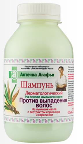 Аптечка Агафьи шампунь Против выпадения волос 300 мл071-5-3907Aктивные компоненты, входящие в состав шампуня, обеспечивают оздоровление луковицы волоса, стимулируют ее усиленное кровоснабжение, повышают тонус кожи. Корень аира – традиционное средство, применяемое при начинающемся облысении. Содержит большое количество витамина С, а также обладает выраженным антимикробным действием. Линоленовая ненасыщенная жирная кислота, входящая в состав льняного масла – природный эликсир молодости. Она улучшает клеточный обмен, укрепляет барьерную функцию кожи. Кератин – эластичный, прочный белок, входящий в состав волос и ногтей, удерживает влагу, препятствует обезвоживанию кожи головы и волос . Мыльный корень – это естественная, более щадящая основа для мытья волос, в отличие от используемой в обычных шампунях. Дерматологический шампунь рекомендуется как профилактическое средство против выпадения волос. Продукт прошел лабораторные испытания в ЦНИКВИ Минздрава России.