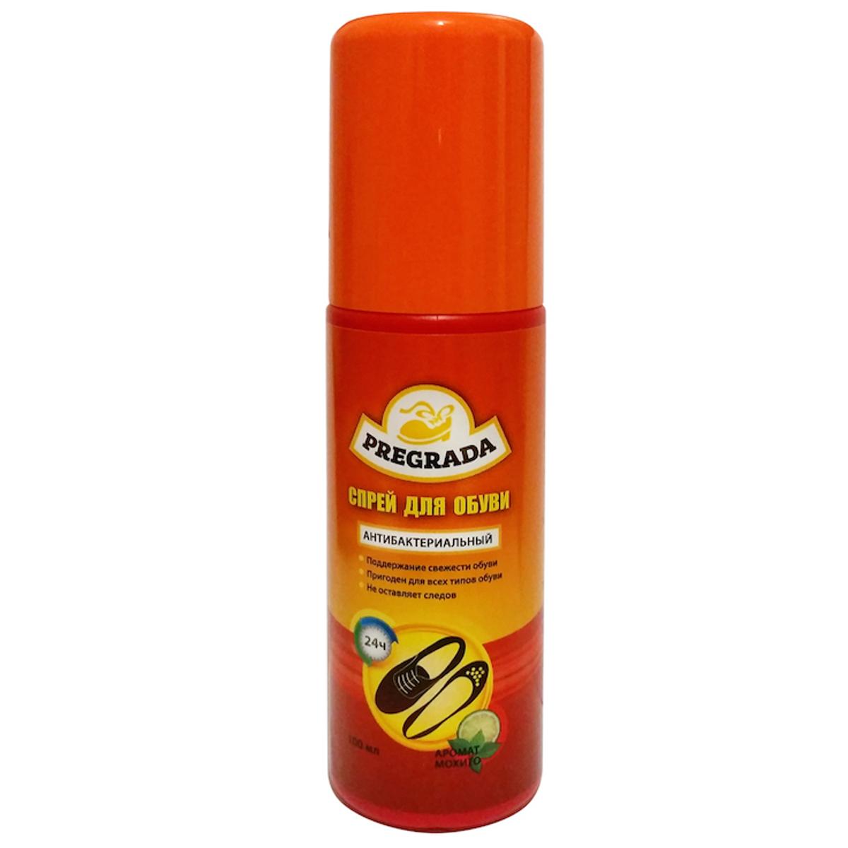 Спрей для обуви Pregrada Защита от запахаHS.050003Pregrada спрей для обуви против неприятного запаха.Обеспечивает гигиену обуви и надежно нейтрализует запахи.Регулярное применение предотвращает повторное появление неприятного запаха и сохраняет свежесть обувиСпособ применения:Перед употребление встряхнуть флакон. Распыляйте спрей на внутреннюю поверхность обуви , дать высохнуть. Рекомендуется повторять процедуру до и после ношения.Меры предосторожности::Беречь от детей! Огнеопасно! Хранить в сухом прохладном месте вдали от прямых солнечных лучей.