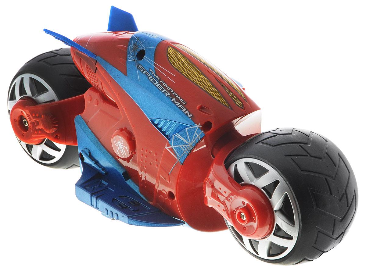 Majorette Мотоцикл на радиоуправлении Человек-паук Cyber Cycle3089752Мотоцикл на радиоуправлении Majorette Человек-паук. Cyber Cycle не оставит равнодушным вашего ребенка. Мотоцикл выполнен в стиле Человека-паука из красно-синего пластика и оформлен изображениями паука и паутины. Он оснащен двумя широкими колесами. Шины изготовлены из мягкой резины. Модель при помощи пульта управления может двигаться вперед, назад, поворачивать влево и вправо, разворачиваться и останавливаться. Пульт управления работает на частоте 27 MHz. Ваш ребенок часами будет играть с моделью, придумывая различные истории и устраивая соревнования. Порадуйте его таким замечательным подарком! Мотоцикл работает от 5 батареек типа АА (входят в комплект). Пульт управления работает от батарейки типа Крона (входит в комплект).