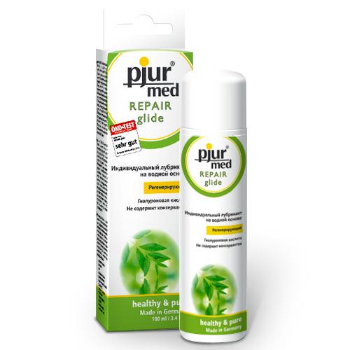 Pjur, Регенирирующий лубрикант с гиалуроновой кислотой pjurMED Repair glide 100 млMEDREP-100Регенерирующий лубрикант на водной основе с гиалуроновой кислотой для сухой или раздраженной кожи слизистой влагалища. Гиалурон связывает между собой молекулы воды и дарит нечто большее, чем просто увлажнение, способствует регенерации кожи. Инновационная формула гарантирует неожидаемое увлажнение и мягкое скольжение. Гель покрывает кожу невидимой пленкой, не закупоривает поры, и кожа продолжает дышать. Содержит регенерирующую гиалуроновую кислоту. Для оптимального увлажнения и восстановления слизистой. Покрывает кожу воздухопроницаемой скользящей пленкой.