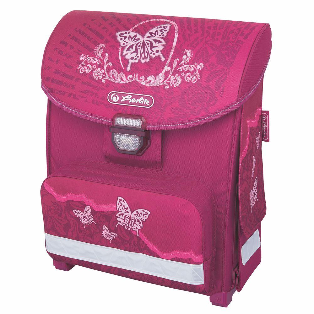 Herlitz Школьный ранец Smart Rose Butterfly11438348Ранец SMART в этой модели есть все, чтобы понравиться и родителям, и детям: привлекательный современный дизайн, вместительные наружные карманы и продуманное внутреннее устройство, возможность удобно разместить все, что необходимо ребенку в школе. Эргономичная спинка из вентилируемого материала гарантирует максимальный комфорт. Модель имеет защелкивающийся замок со встроенными светоотражающим элементом удобно открывается и закрывается. Светоотражающие элементы премиального качества от компании ЗМScotchlite делают ребенка видимым и действительно обеспечивают безопасность передвижения в темное время суток. 2 внутренних отделения;расписание уроков под крышкой ранца;передний наружный карман на «молнии»;