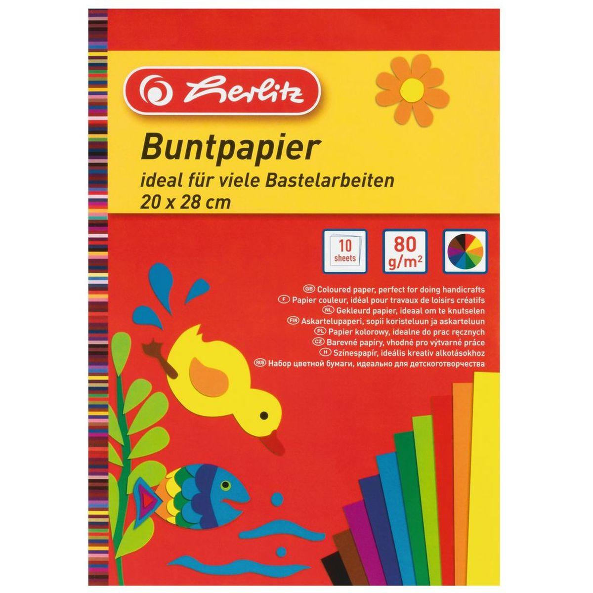 Herlitz Набор цветной бумаги Buntpapier10668085Цветная бумага от Herlitz - это прочная, плотная и гладкая бумага для детского творчества. Бумага сформирована в виде блокнота и насыщена яркими цветами. Работа с цветной бумагой от Herlitz благотворно влияет на развитие мышления, воображения и мелкой моторики рук.