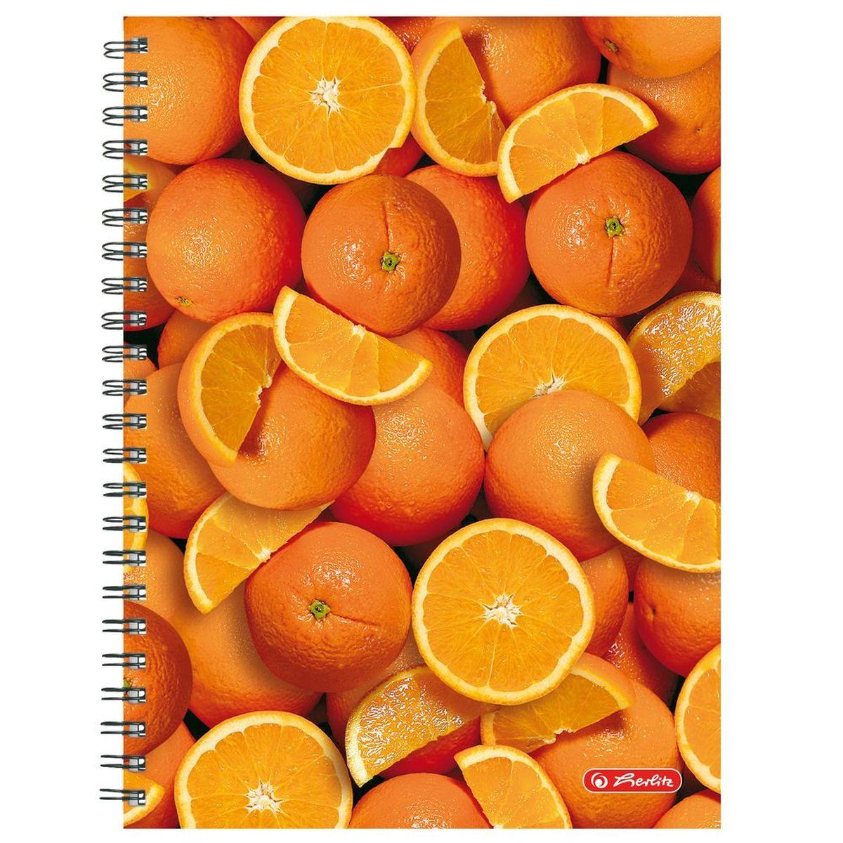 Herlitz Тетрадь Апельсины 70 листов в клетку формат А410887537Удобная тетрадь Herlitz Апельсины - незаменимый атрибут современного человека, необходимый для рабочих или школьных записей. Тетрадь содержит 70 листов формата А4 в клетку без полей со внутренней разделительной полосой. Обложка выполнена из качественного ламинированного картона с ярким фруктовым дизайном. Внутренний спиральный блок изготовлен из металла и гарантирует надежное крепление листов. Тетрадь для записей Herlitz Апельсины станет достойным аксессуаром среди ваших канцелярских принадлежностей. Это отличный подарок как коллеге или деловому партнеру, так и близким людям.