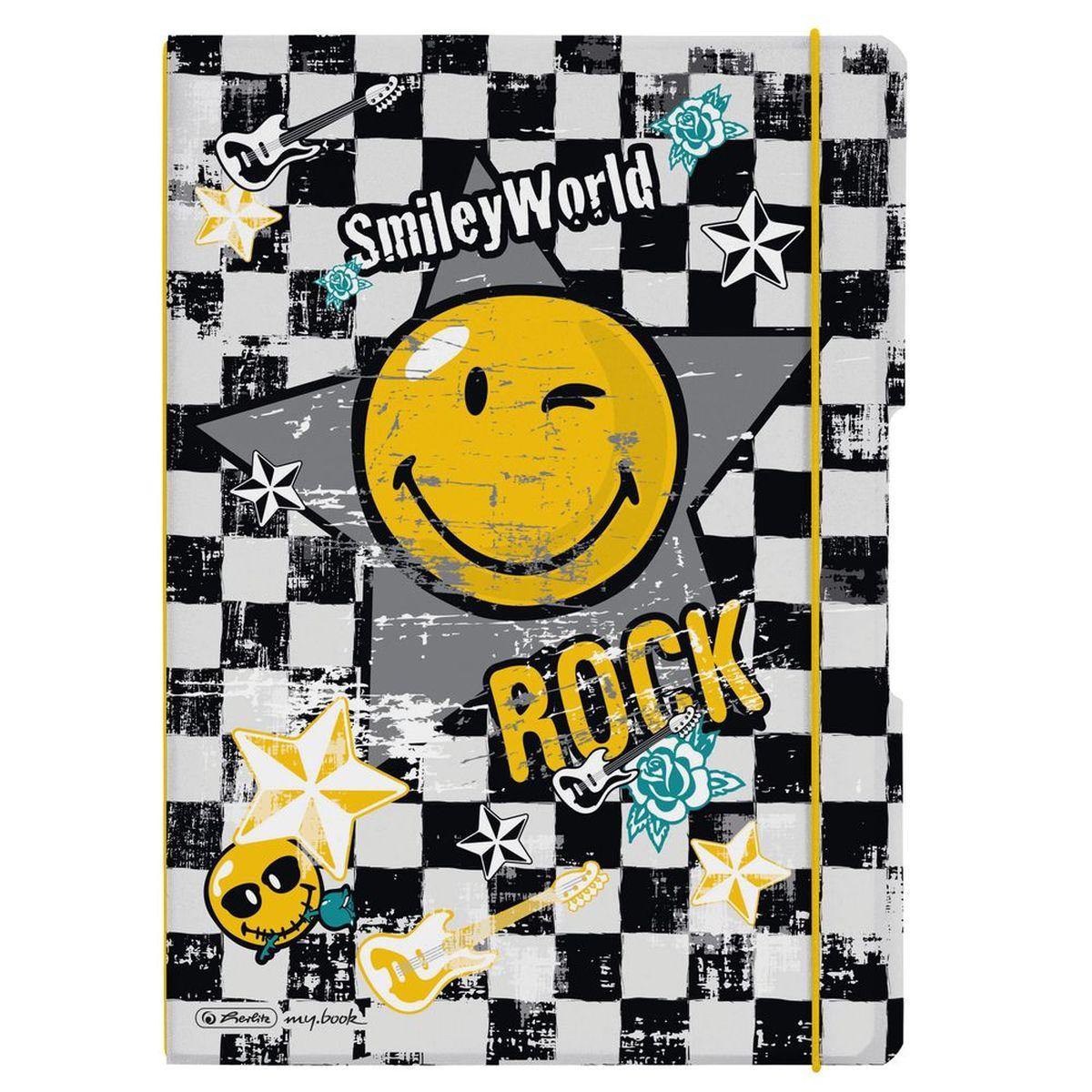 """Herlitz Блокнот my.book Flex Smiley Rock 80 листов в клетку/линейку11361623Комбинируемый блокнот от Herlitz my.book Flex Smiley Rock подойдет для любого случая: в университете, в школе, дома или в офисе. Получите ежедневную дозу Рок н ролла с новой дизайнерской серией Smiley World! Клевые и прикольные смайлы, «шахматный» дизайн, а также различные детали рок-культуры, такие как гитары или розы, стилизованные под тату, привлекут внимание любого подростка. Благодаря разным бумажным сменным блокам, а также эластичным резинкам и креплению блокнот my.book всегда остается уникальным и разнообразным. С помощью наборов эластичных резинок вы можете немного менять внешний вид своего блокнота my.book flex каждый день. При желании вы можете просто продолжать использовать свою любимую обложку, потому что с бумажными блоками всегда есть, где писать. Пластиковый блокнот my.book flex завоюет ваше сердце. Пластиковая версия блокнота формата A4 имеет еще одно преимущество: уникальная система """"2-в-1"""". В отличие от обычных..."""