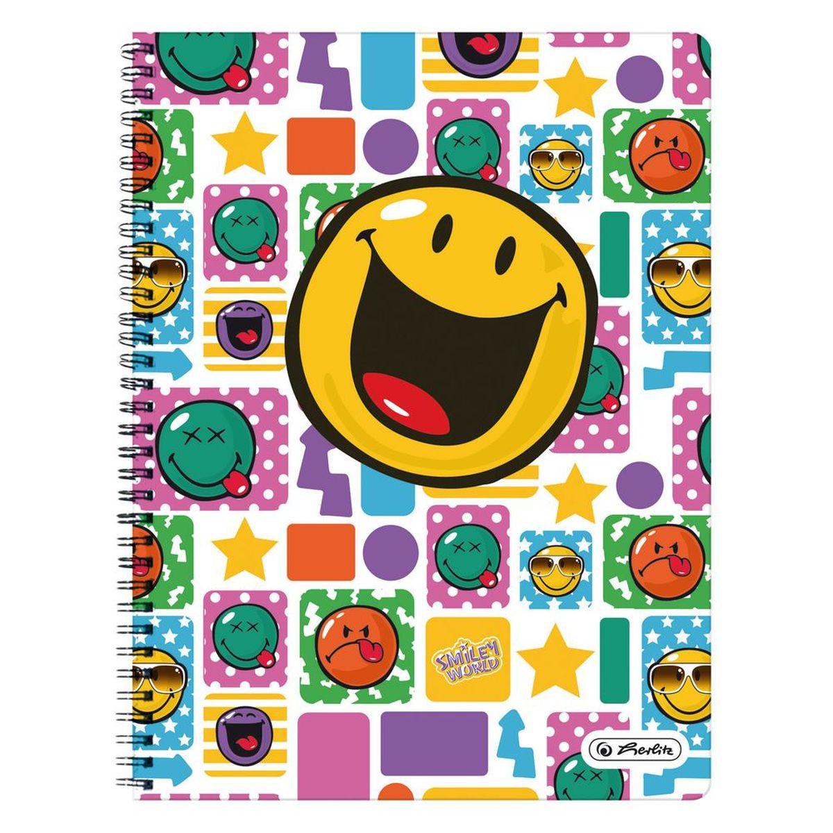 Herlitz Тетрадь Smiley Happy 70 листов в клетку11364726Удобная тетрадь от Herlitz Smiley Happy - незаменимый атрибут современного человека, необходимый для рабочих или школьных записей. Тетрадь содержит 70 листов формата А4 в клетку с полями. Обложка выполнена из качественного ламинированного картона. Внутренний спиральный блок изготовлен из металла и гарантирует надежное крепление листов. Тетрадь имеет закругленные углы и яркий дизайн, дополненный желтым смайлом. Тетрадь Herlitz Smiley Happy станет достойным аксессуаром среди ваших канцелярских принадлежностей. Это отличный подарок как коллеге или деловому партнеру, так и близким людям.