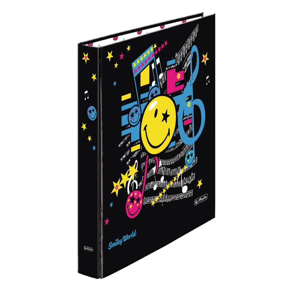 Herlitz Папка Smiley World Pop11368958Практичная папка Herlitz Smiley World Pop предназначена для хранения больших объемов документов. Ее обложка выполнена из ламинированного картона. Папка оснащена 2 кольцами для фиксации бумаг. Основа папки изготовлена из прочного FSC-сертифицированного картона. Папка-регистратор значительно облегчает делопроизводство. Яркий дизайн, дополненный веселым смайлом, позволит ей стать достойным аксессуаром среди ваших канцелярских принадлежностей и дарить хорошее настроение.