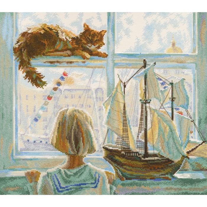 Набор для вышивания РТО Мечты о мореM555Мулине на карте, разобранное по цветам, канва Аида 14, белого цвета, символьная схема, игла, инструкция