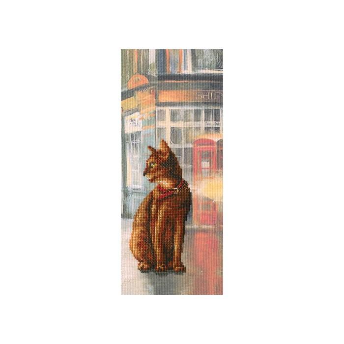Набор для вышивания РТО Коты в городеC245Мулине на карте, разобранное по цветам, канва с напечатанным фоном Аида 14, белого цвета, символьная схема, игла, инструкция