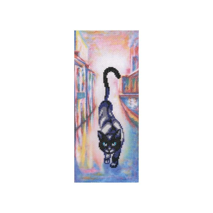 Набор для вышивания РТО Коты в городеC246Мулине на карте, разобранное по цветам, канва с напечатанным фоном Аида 14, белого цвета, символьная схема, игла, инструкция