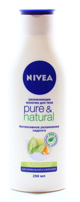 NIVEA Молочко для тела Pure & Natural 250 мл10015115Молочко Pure&Natural для сухой и нормальной кожи тела содержит чистое аргановое масло и органическое масло жожоба. Не содержит парабенов, силиконов или искусственных красителей. Аргановое масло делает кожу особенно мягкой и увлажненной. Аргановое масло и масло жожоба ухаживают и питают сухую кожу. Они восстанавливают естественный баланс кожи, благодаря чему она остается ощутимо мягкой в течение всего дня. Молочко для тела Pure&Natural от NIVEA для сухой и нормальной кожи также обладает приятным тонким ароматом, благодаря которому каждое нанесение становится незабываемым. Как это работает Аргановое масло является натуральным источником витамина Е, и, следовательно, обладает непревзойденными антиоксидантными свойствами. Оно является идеальной защитой против свободных радикалов в коже, появление которых может быть обусловлено неблагоприятным состоянием окружающей среды и стрессом. В ходе одного из исследований, ученые обнаружили, что после...
