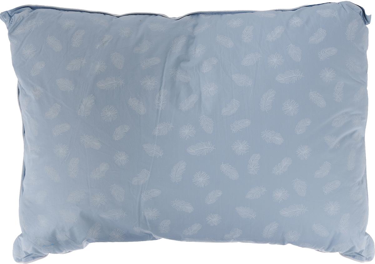 Подушка Легкие сны Нежная, наполнитель: гусиный пух, 50 х 68 см57(15)02-ППодушка Легкие сны Нежная поможет расслабиться, снимет усталость и подарит вам спокойный и здоровый сон. Наполнителем этой подушки является воздушный и легкий гусиный пух первой категории. Чехол изделия выполнен из пуходержащего тика небесно-голубого цвета с рисунком в виде перьев. Тик - это натуральная хлопчатобумажная ткань, отличающаяся высокой плотностью, идеально подходит для пухо-перовых изделий, так как устойчива к проколам и разрывам, а также отличается долговечностью в использовании. По краю подушки выполнена отделка кантом. Это отличный вариант для подарка себе и своим близким и любимым. Рекомендации по уходу: Деликатная стирка при температуре воды до 30°С. Отбеливание, барабанная сушка и глажка запрещены. Разрешается обычная химчистка.