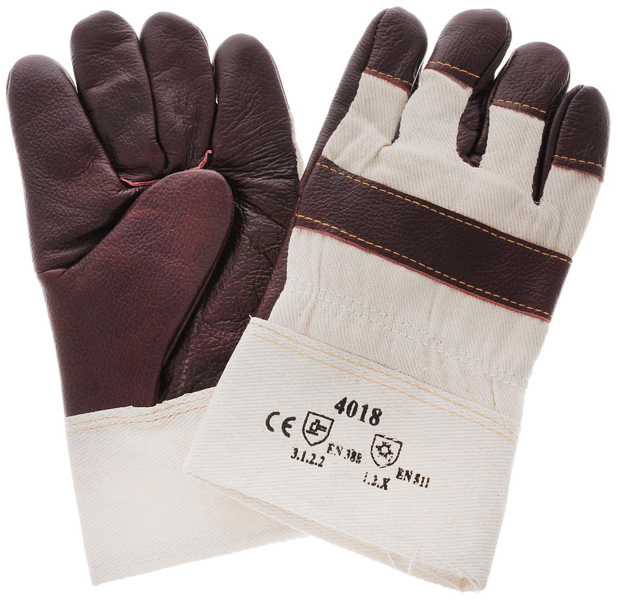 """Перчатки защитные """"Рос"""", кожаные, цвет: бежевый, бордовый"""