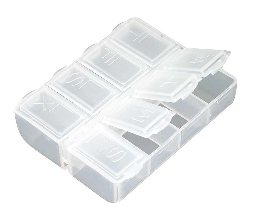 Таблетница Белоснежка, 8 отделений. BO-061BO-061Компактный органайзер для таблеток Белоснежка изготовлен из пластика. Такой органайзер позволит вам хранить необходимые лекарства компактно и удобно. Размер органайзера: 6.5 х 6.5 х 2 см