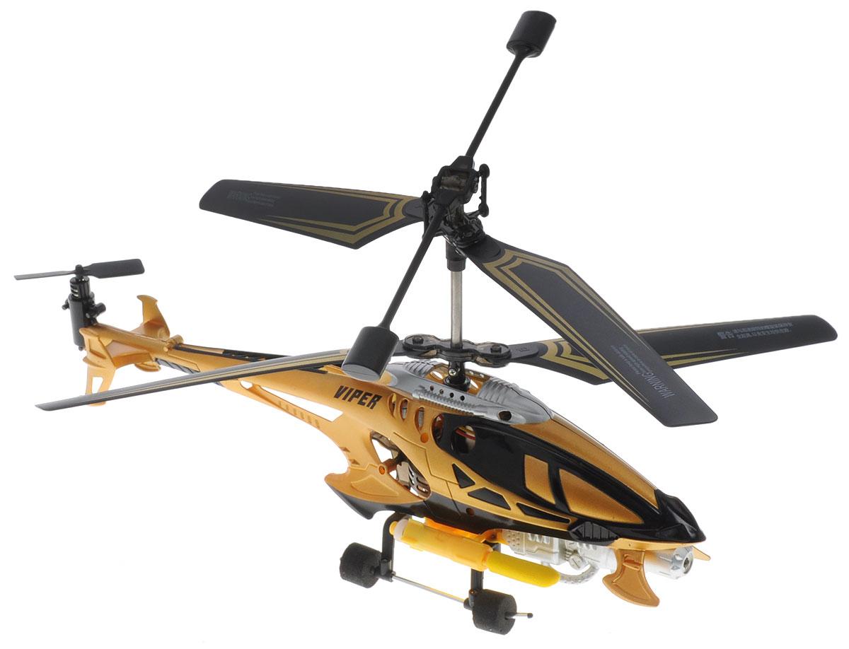 Auldey Вертолет на инфракрасном управлении Viper1169963Вертолет Auldey Viper на инфракрасном управлении со встроенным гироскопом отлично подходит для полетов в закрытых помещениях и на улице в безветренную погоду. Гироскоп предназначен для курсовой стабилизации полета. Игрушка выполнена из прочного пластика с металлическими элементами. Вертолет стабилен в воздухе и легко управляется. Пульт управления позволяет вертолету летать вверх-вниз, вперед-назад и вращаться. А также вертолет способен выполнять следующие трюки: Торнадо, Прямоугольная схема, Практика в пересечении кольца, Маршрут вокруг кольца. Вертолет оснащен функцией запуска ракет. Эта увлекательная игрушка понравится не только детям, но и взрослым, и подарит вам множество счастливых мгновений. Игрушка великолепно развивает важные навыки, такие как мышление, наблюдательность, зрительно-моторную координацию. Вертолет работает от встроенного аккумулятора, который можно заряжать от USB-кабеля (входит в комплект). Для работы пульта...