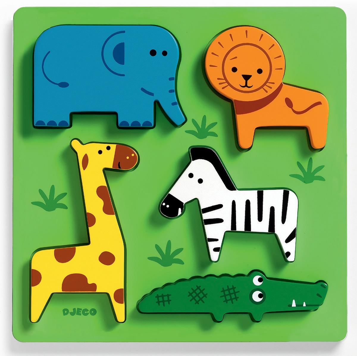 Djeco Пазл для малышей Животные сафари01023Рамка-вкладыш «Домашние животные» - первый пазл для Вашего малыша. Деревянная рамка-вкладыш способствует развитию мелкой моторики ребенка, кроме того, яркий пазл знакомит малыша с миром домашних животных. Малыш узнает, как выглядит утка, корова, кот, собака и осел.