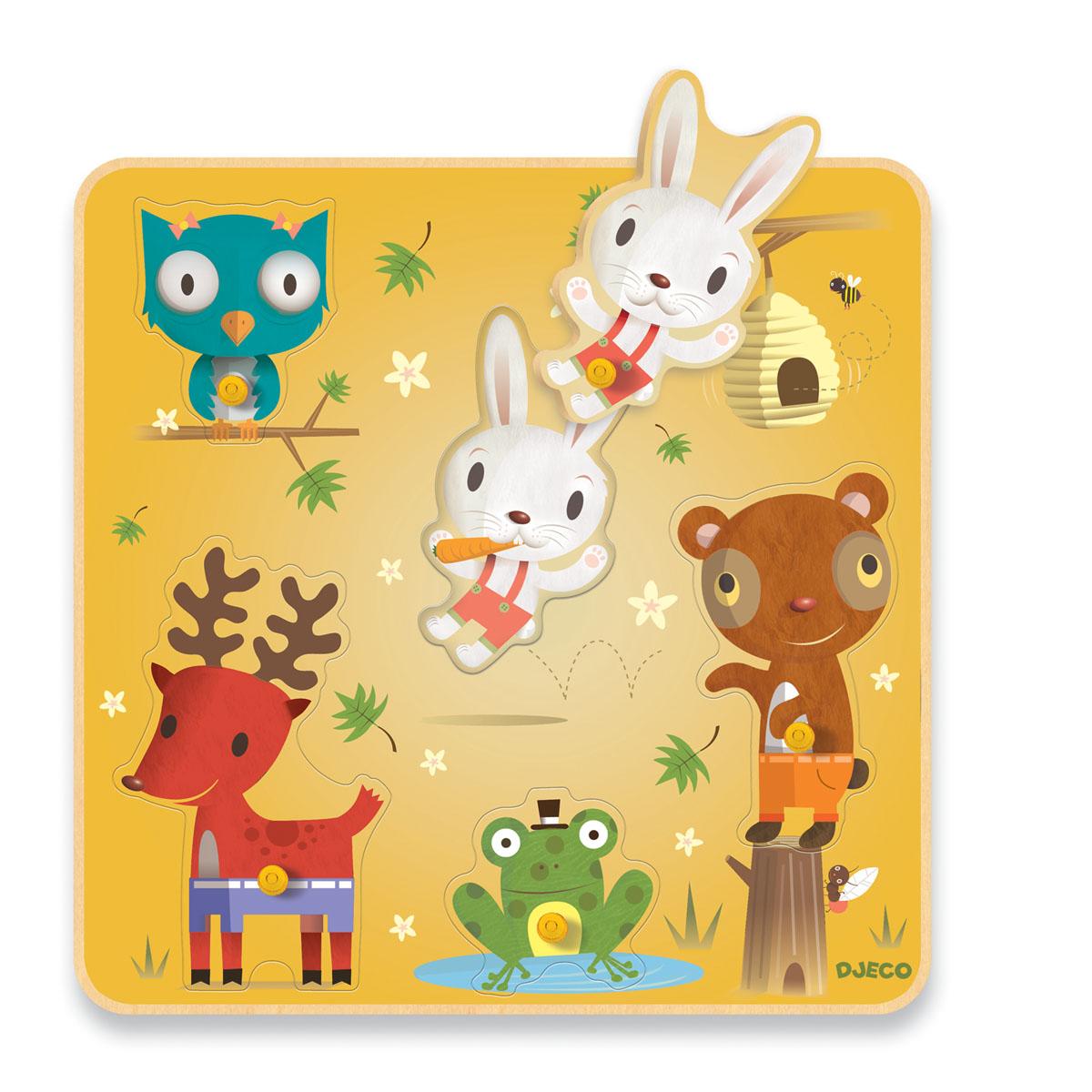 Djeco Пазл для малышей Ноно и друзья01417Рамка-вкладыш с чудесными изображениями животных способствует развитию мелкой моторики ребенка. Кроме того, играя с этим пазлом Ваш малыш познакомится с различными лесными зверями – зайцем, медведем, лягушкой, оленем и совой. Для детей с 12 месяцев.