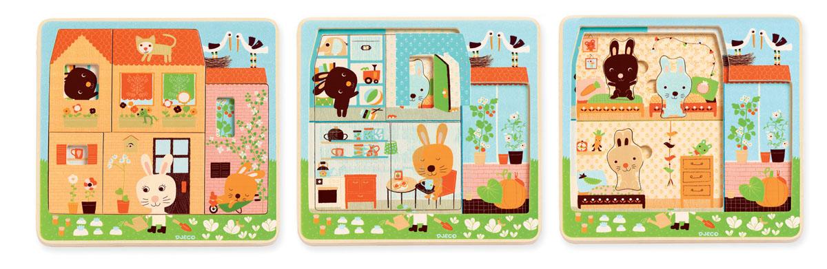 Djeco Пазл для малышей Дом зайцев01480Трехслойный пазл Дом зайцев - необычная деревянная мозаика от французского бренда Djeco. Игра состоит из трех соединенных между собой картинок, на которых показана жизнь очаровательных зайчат. Пазл состоит из 3х слоев: первый слой - дом, второй слой - комнаты, третий - зайцы в доме. Игрушка привлечет внимание ребенка своими яркими картинками и милыми персонажами.