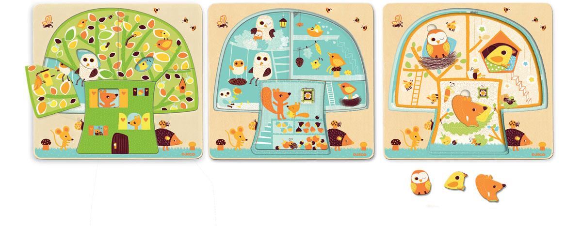 Djeco Пазл для малышей Дом-дерево01481рехслойный пазл Дом зайцев - необычная деревянная мозаика от французского бренда Djeco. Игра состоит из трех соединенных между собой картинок, на которых показана жизнь очаровательных зайчат. Пазл состоит из 3х слоев: первый слой - дом, второй слой - комнаты, третий - зайцы в доме. Игрушка привлечет внимание ребенка своими яркими картинками и милыми персонажами.